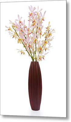 Pink Orchid In Wood Vase Metal Print by Atiketta Sangasaeng