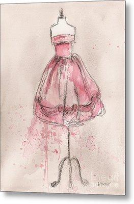 Pink Party Dress Metal Print by Lauren Maurer