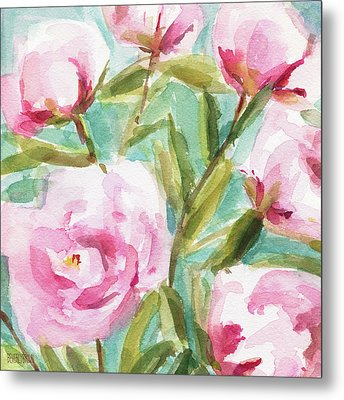 Pink Peony Branches Metal Print by Beverly Brown Prints