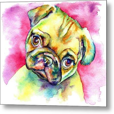 Pink Pug Metal Print by Christy  Freeman