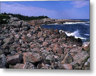 Pink Rock Shoreline Metal Print by Sally Weigand