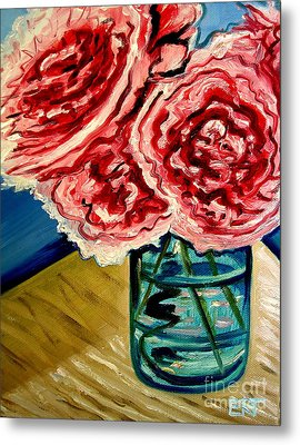 Pink Ruffled Peonies Metal Print by Elizabeth Robinette Tyndall