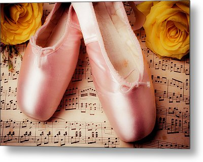 Pink Slippers And Roses Metal Print by Garry Gay