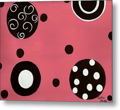 Pink Swirly Curly Metal Print by Katie Slaby