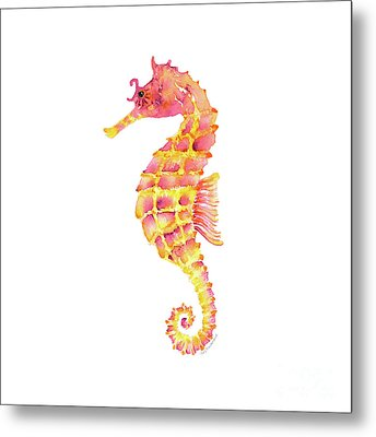 Pink Yellow Seahorse - Square Metal Print by Amy Kirkpatrick