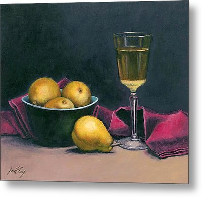 Pinot And Pears Still Life Metal Print by Janet King