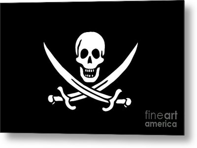 Pirate Flag Jolly Roger Of Calico Jack Rackham Tee Metal Print by Edward Fielding