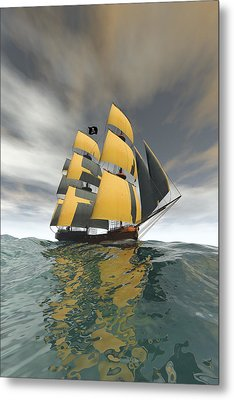 Pirate Ship On The High Seas Metal Print by Carol and Mike Werner