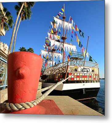 Pirates In Harbor Metal Print by David Lee Thompson
