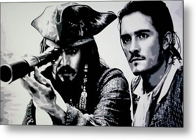 Pirates Of The Carribean Metal Print by Luis Ludzska