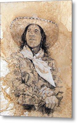 Pistol Packin' Cowgirl Metal Print by Debra Jones