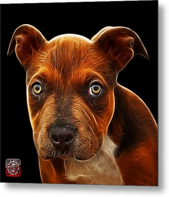 Pitbull Puppy Pop Art - 7085 Bb Metal Print by James Ahn
