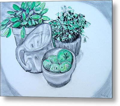 Pitcher And Plants Metal Print by Clarence Major