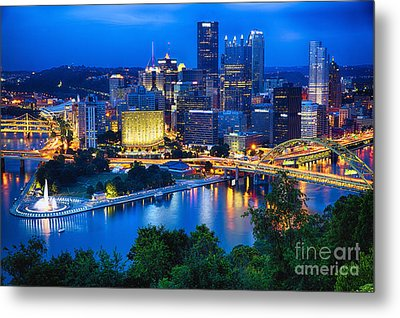 Pittsburgh Downtown Night Scenic View Metal Print by George Oze