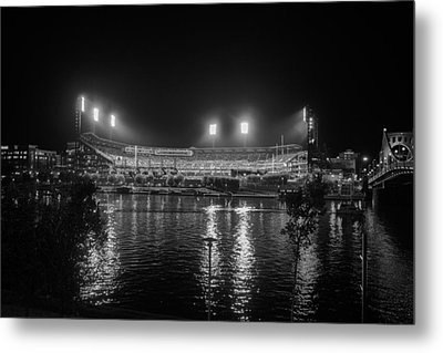 Pittsburgh Pirates Pnc Park Night Bw Metal Print by David Haskett