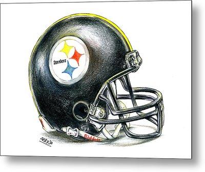 Pittsburgh Steelers Helmet Metal Print by James Sayer