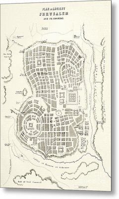 Plan Of Ancient Jerusalem As It Was Presumed To Be At The Time Of Jesus Christ Metal Print by English School