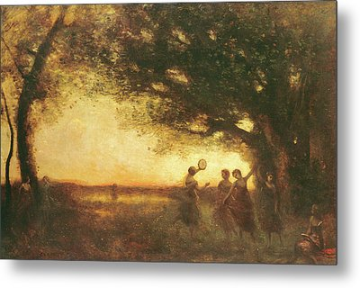 Pleasures Of The Evening Metal Print by Jean Baptiste Camille Corot