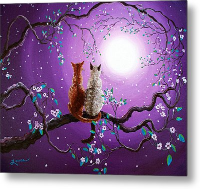 Plum Blossoms In Pale Moonlight Metal Print by Laura Iverson