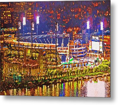 Pnc Park On A Light Up Night Metal Print by Digital Photographic Arts