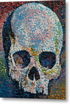 Pointillism Skull Metal Print by Michael Creese