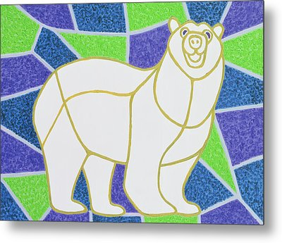 Polar Bear On Stained Glass Metal Print by Pat Scott