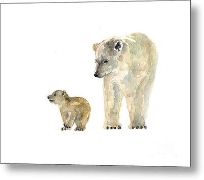 Polar Bears Watercolor Art Print Painting  Metal Print by Joanna Szmerdt