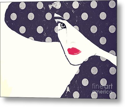 Polka Dot Fashion Hat Metal Print by Mindy Sommers