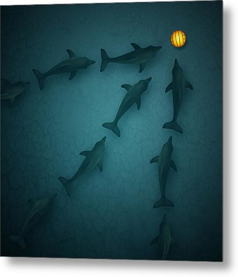 Polo Dolphins Metal Print by Michael  Murray