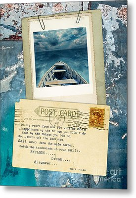 Poloroid Of Boat With Inspirational Quote Metal Print by Jill Battaglia