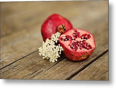 Pomegranate And Flowers On Tabletop Metal Print by Anna Hwatz Photography Find Me On Facebook