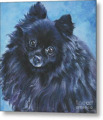 Pomeranian Black Metal Print by Lee Ann Shepard