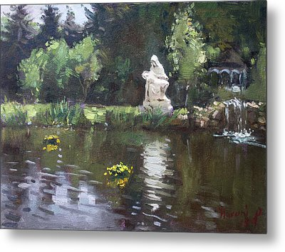 Pond At Our Lady Of Fatima Lewiston Metal Print by Ylli Haruni
