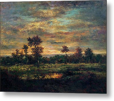 Pond At The Edge Of A Wood Metal Print by Theodore Rousseau