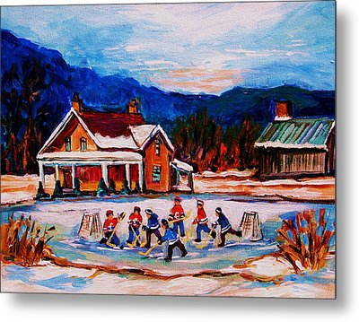 Pond Hockey Metal Print by Carole Spandau