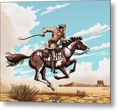 Pony Express Rider Historical Americana Painting Desert Scene Metal Print by Walt Curlee
