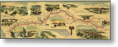 Pony Express Route April 1860 - October Metal Print by Everett