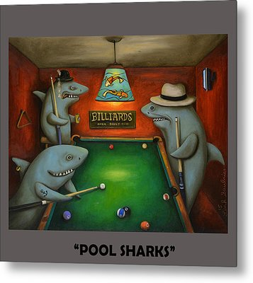 Pool Sharks With Lettering Metal Print by Leah Saulnier The Painting Maniac