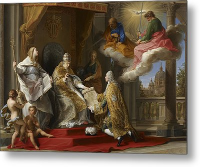 Pope Benedict Xiv Presenting The Encyclical Ex Omnibus To The Comte De Stainville Metal Print by Pompeo Girolamo Batoni