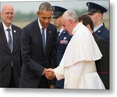 Pope Francis And President Obama Metal Print by Mountain Dreams
