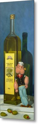 Popeye And Olive Oil Metal Print by Judy Sherman