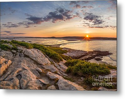 Popham Beach From Fox Island Metal Print by Benjamin Williamson