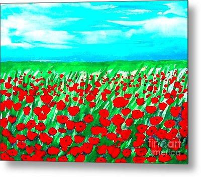 Poppy Field Abstract Metal Print by Marsha Heiken