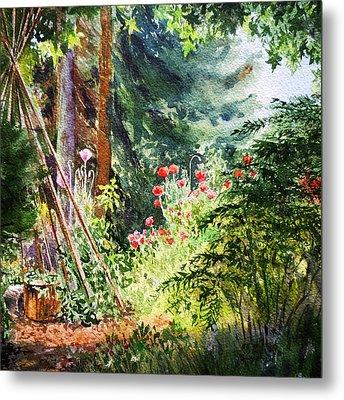 Poppy Garden Landscape Metal Print by Irina Sztukowski