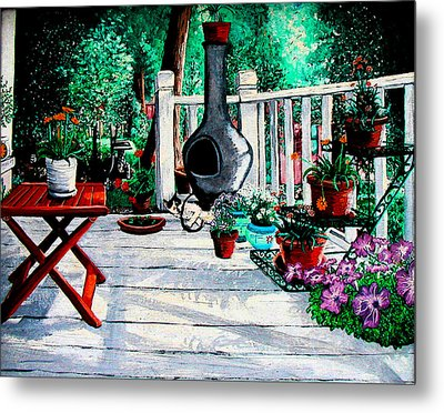 Porch Cat Sleeps Metal Print by Laura Brightwood