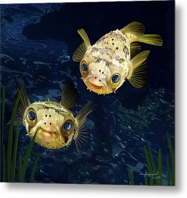 Porcupine Puffer  Metal Print by Thanh Thuy Nguyen