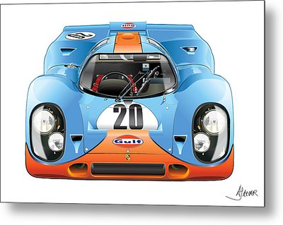 Porsche 917 Gulf On White Metal Print by Alain Jamar