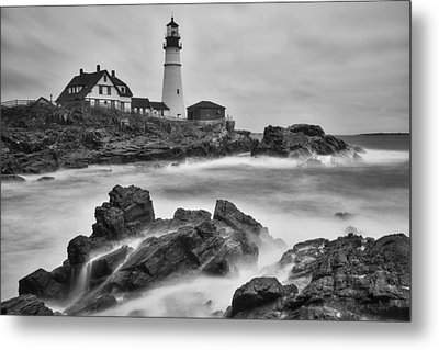 Portland Head Monochrome Metal Print by Darren White
