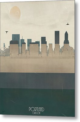 Portland Oregon Skyline Metal Print by Bri B
