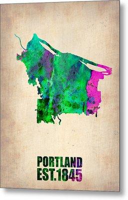 Portland Watercolor Map Metal Print by Naxart Studio